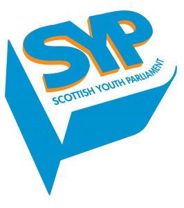Scottish Youth Parliament logo, which features the the initials SYP in blue text with an orange boarder.