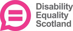 Disability Equality Scotland logo. A pink speech bubble with an equals sign featured in the centre of the speech bubble.