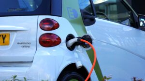 an electric vehicle that is charging