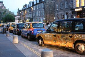 Taxi rank in Edinburgh, overlooking Edinburgh Castle
