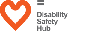 Disability Safety Hub logo featuring an orange heart